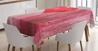 Heart on Wooden Board Tablecloth