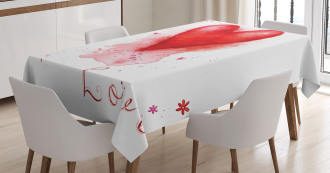 Watercolor Effect Heart Tablecloth