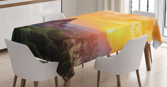 Ancient Temple Sunset Tablecloth