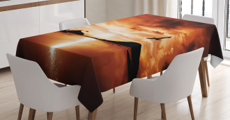 Sunset Sea Mountain Wings Tablecloth