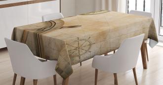Wooden Wheel Compass Tablecloth