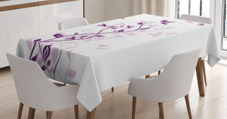 Violet Tree Blossoms Tablecloth