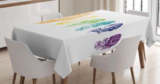 Rainbow Feathers Tablecloth