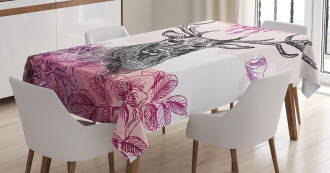 Flower Leaves Hand Drawn Tablecloth