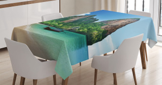 Thailand Rock Cliff Beach Tablecloth