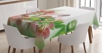 Orchids Blossoms Leaves Tablecloth