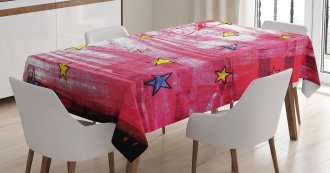 Red Grunge Celestial Tablecloth