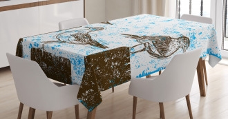 Grungy Sketch Seagulls Tablecloth