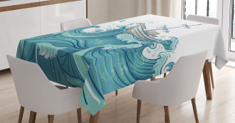 Ship and Ocean Waves Tablecloth