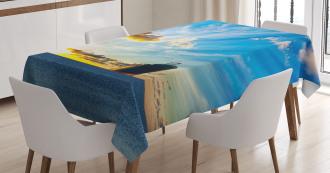 Sea at Sunset Ship Tablecloth
