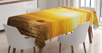Ship on Ocean Sunrise Tablecloth
