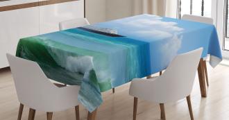 Waves Ship Travel Tablecloth