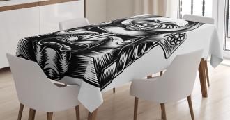 Samurai Mask Martial Tablecloth
