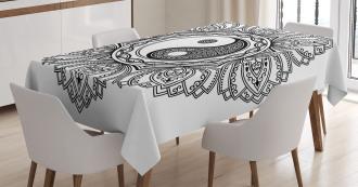 Floral Asian Yoga Symbol Tablecloth