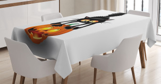 Cartoon Animal on Pumpkin Tablecloth