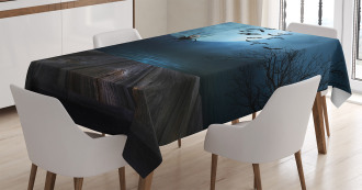 Lake Scene Bat Tablecloth