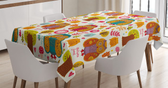 Colorful Owl Woodland Animals Tablecloth