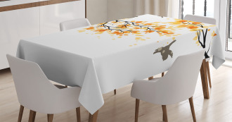 Flying Birds and Leaves Tablecloth