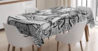 Third Eye Mandala Sketch Tablecloth