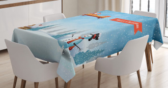Santa Plane Snowman Tablecloth