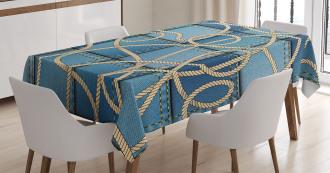 Denim Patchwork Rope Tablecloth