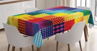 Rainbow Retro Patchwork Tablecloth