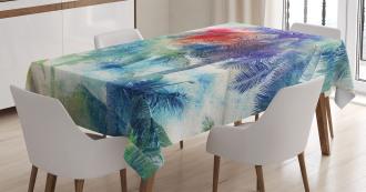 Watercolor Palm Retro Tablecloth
