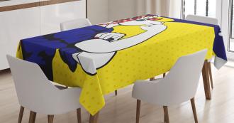 Unicorn with Polka Dot Tablecloth