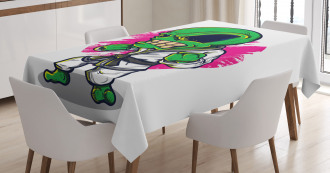 Angry Alien Karate Art Tablecloth