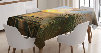 Palms Sunset Scenery Tablecloth