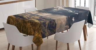 Fluffy Clouds Mountains Tablecloth