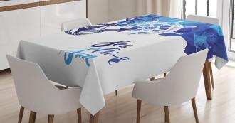 Nautical Wheel Ocean TableCloth