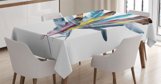 Colorful Feathers Old Pen Tablecloth