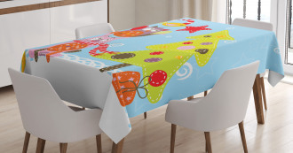 Cartoon Style Cat Owl Tablecloth
