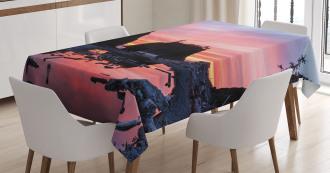 Mystic Beach Skyline Tablecloth
