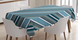 Gray and Blue Diagonal Tablecloth