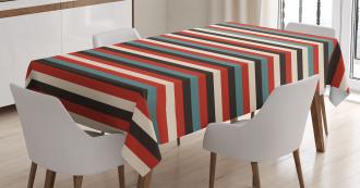 Vintage 60's Red Black Tablecloth