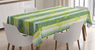 Spring Striped Flowers Tablecloth