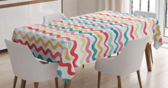 Boho Wavy Rough Lines Tablecloth