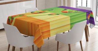 Floral Leaves Stripes Tablecloth