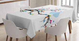 Winged Birds on Tree Tablecloth