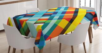Vivid Retro Lines Tablecloth