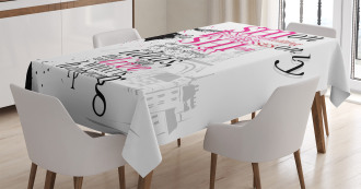 Paris Girl Words Tablecloth