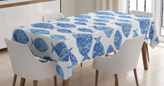 Watercolor Blue Patterns Tablecloth