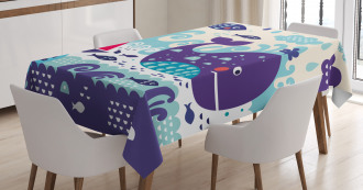 Cartoon Whale an Fishes Tablecloth