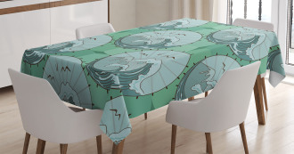 Waves Mountains Seagulls Tablecloth