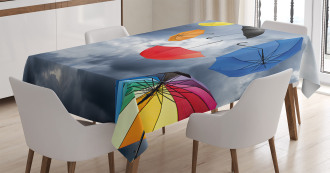 Flying Umbrellas Clouds Tablecloth