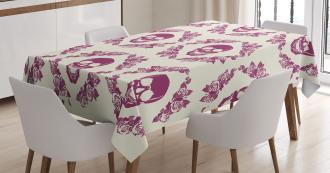 Maroon Motif Flowers Tablecloth