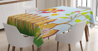Tree Butterfly and Flower Tablecloth