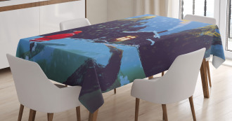 Santa Claus in Mountain Tablecloth